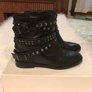 Head over heels studded booties with hidden wedge